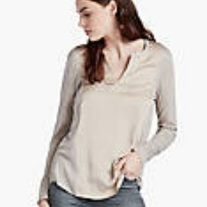 LUCKY BRAND Taupe with Gold Woven Mix Top M EUC